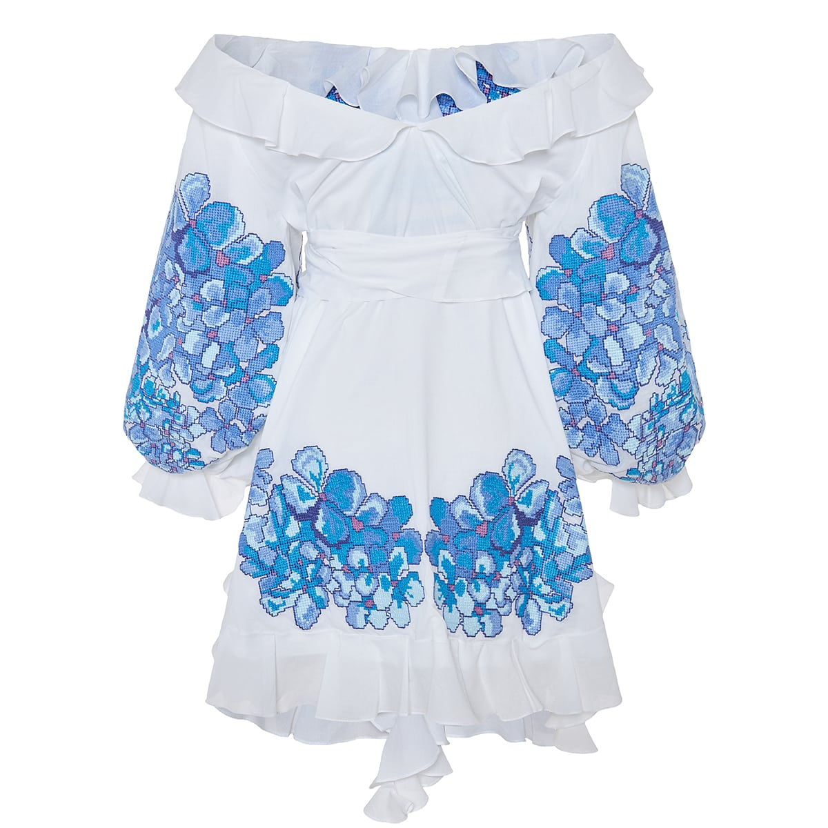 Hortensia off-the-shoulder embroidered mini dress