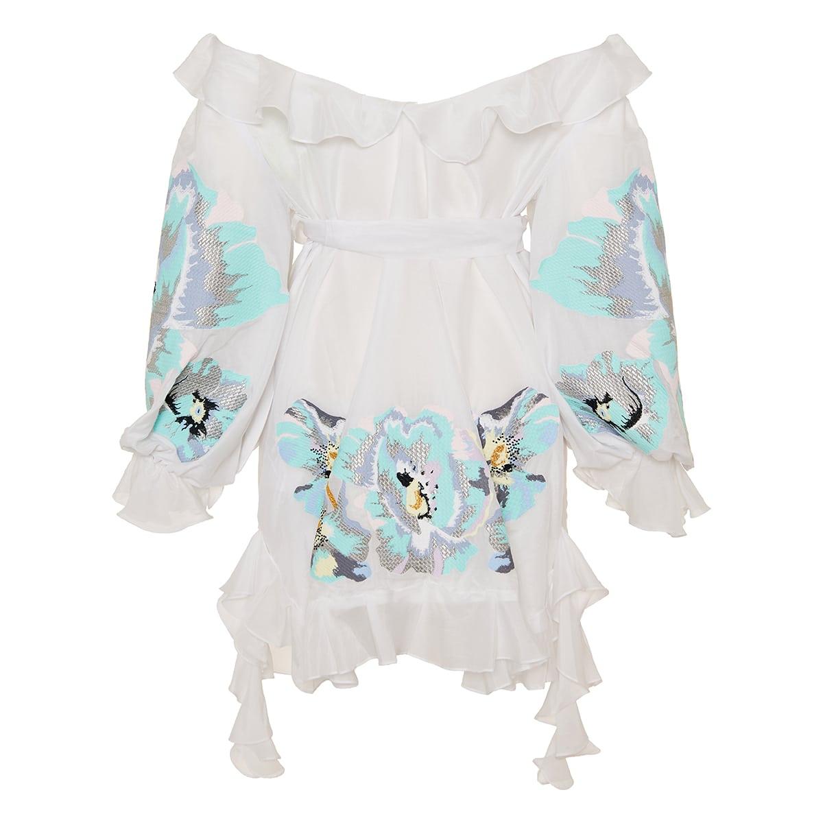 Exstasy off-the-shoulder embroidered mini dress