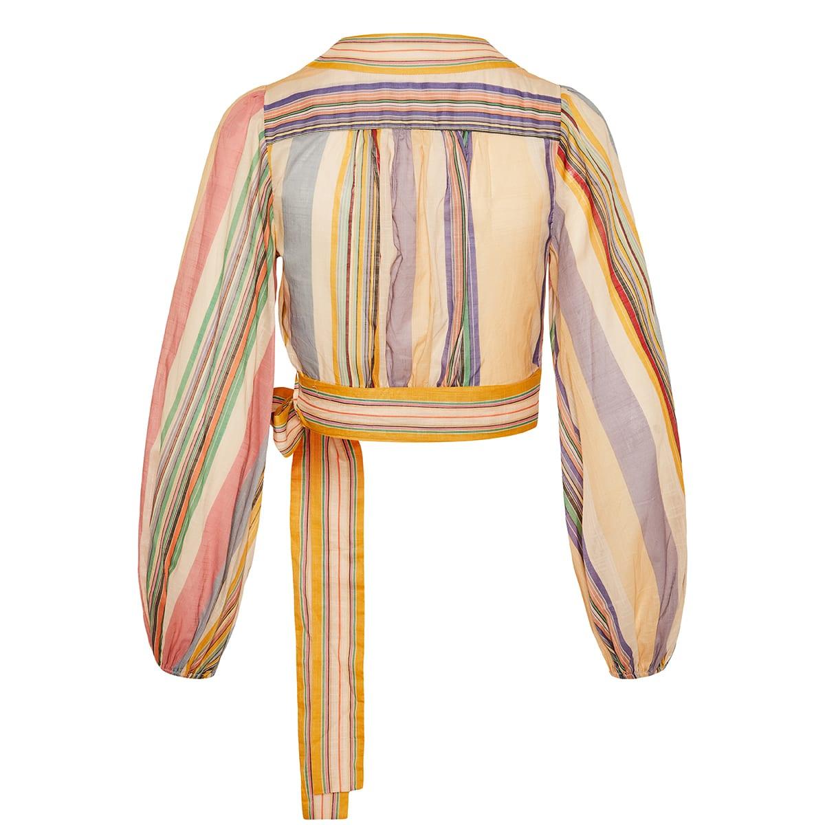 Mae striped cropped wrap top