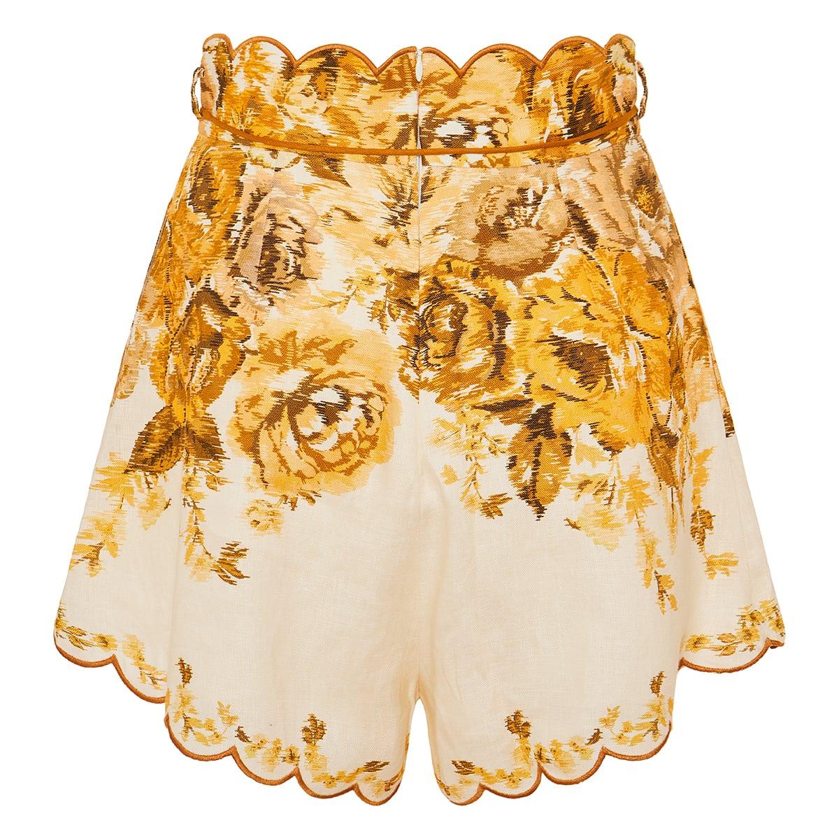 Aliana floral scalloped linen shorts