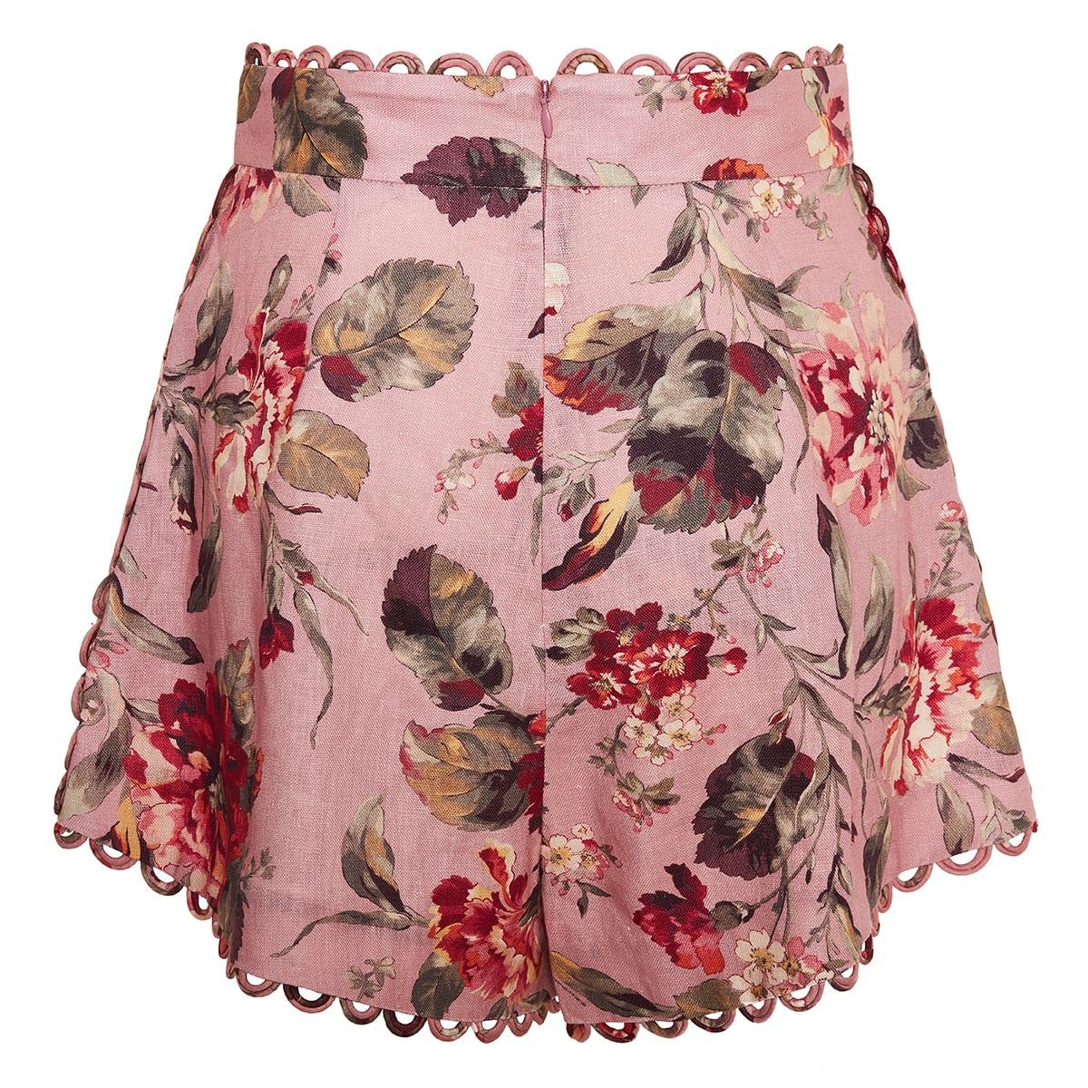 Cassia floral linen shorts