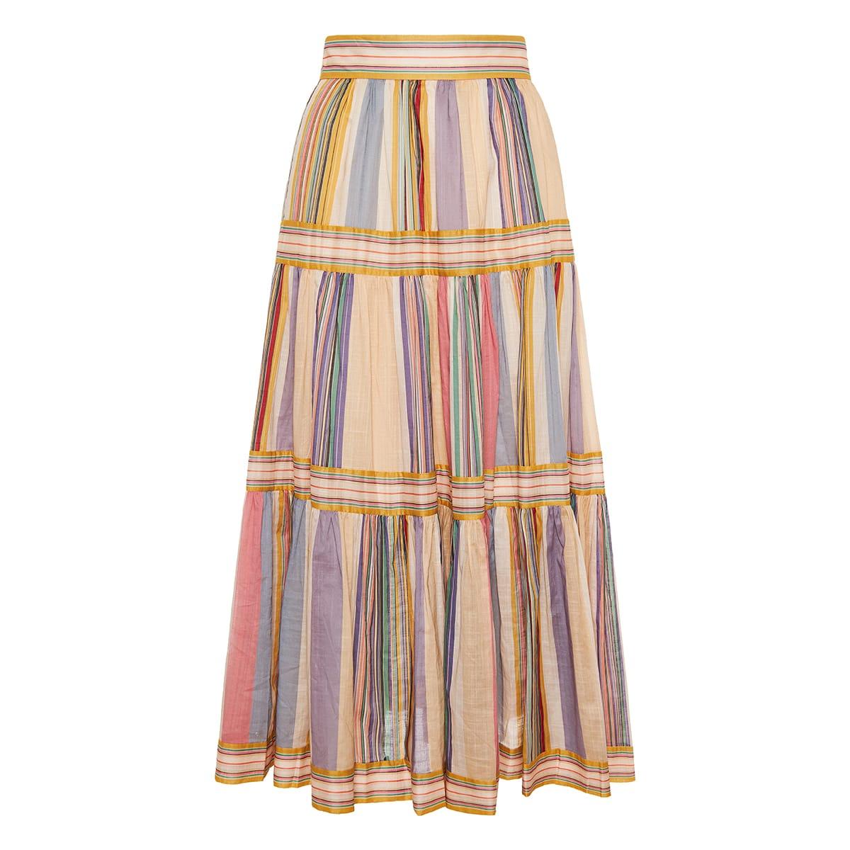 Mae striped tiered midi skirt