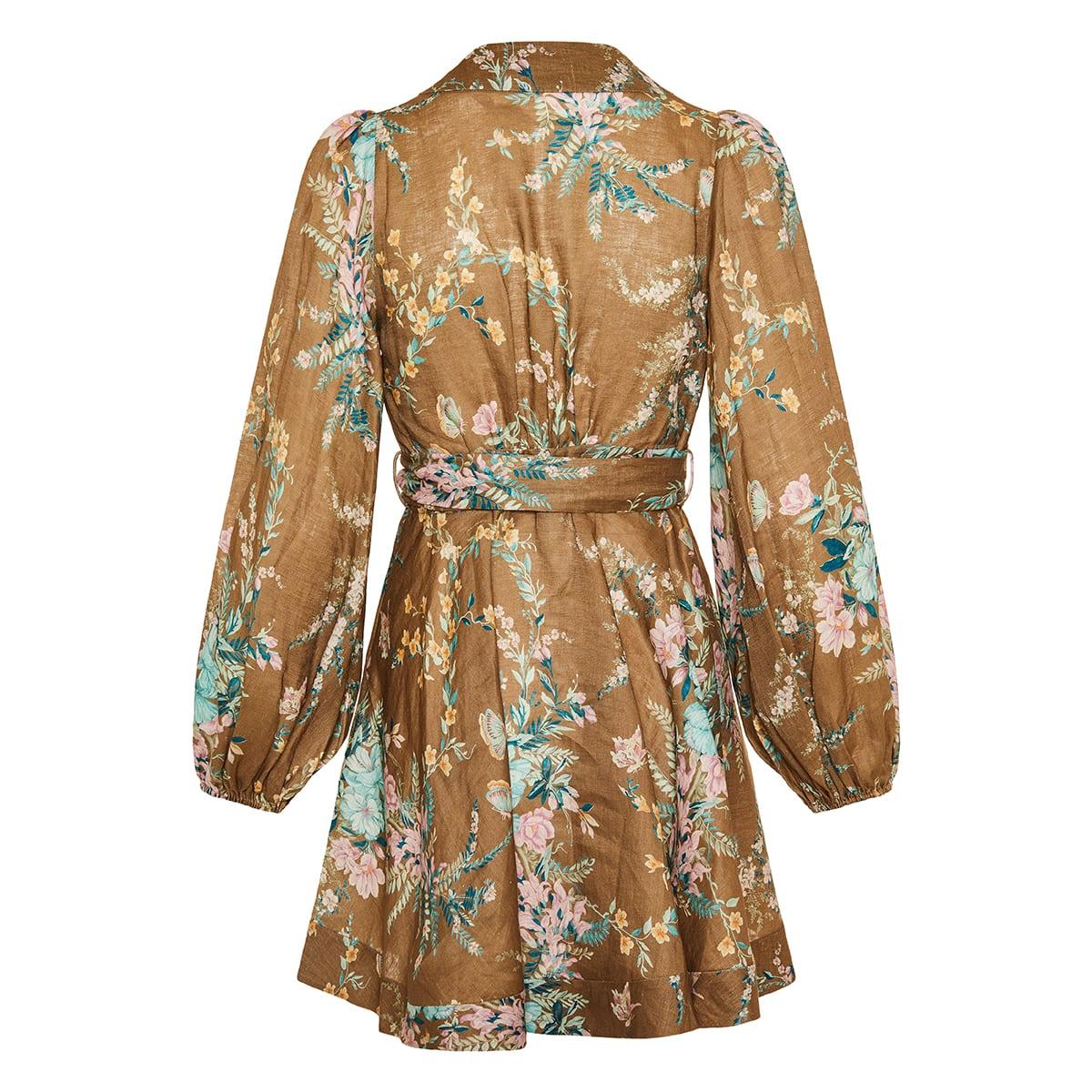 Cassia floral linen wrap dress