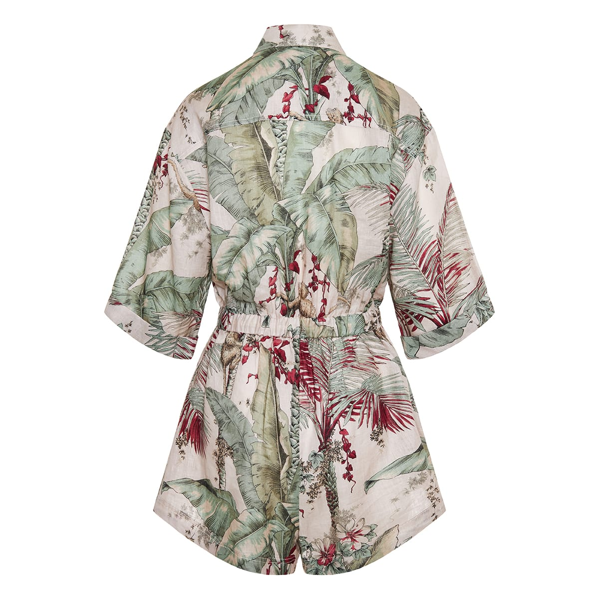 Cassia printed linen playsuit