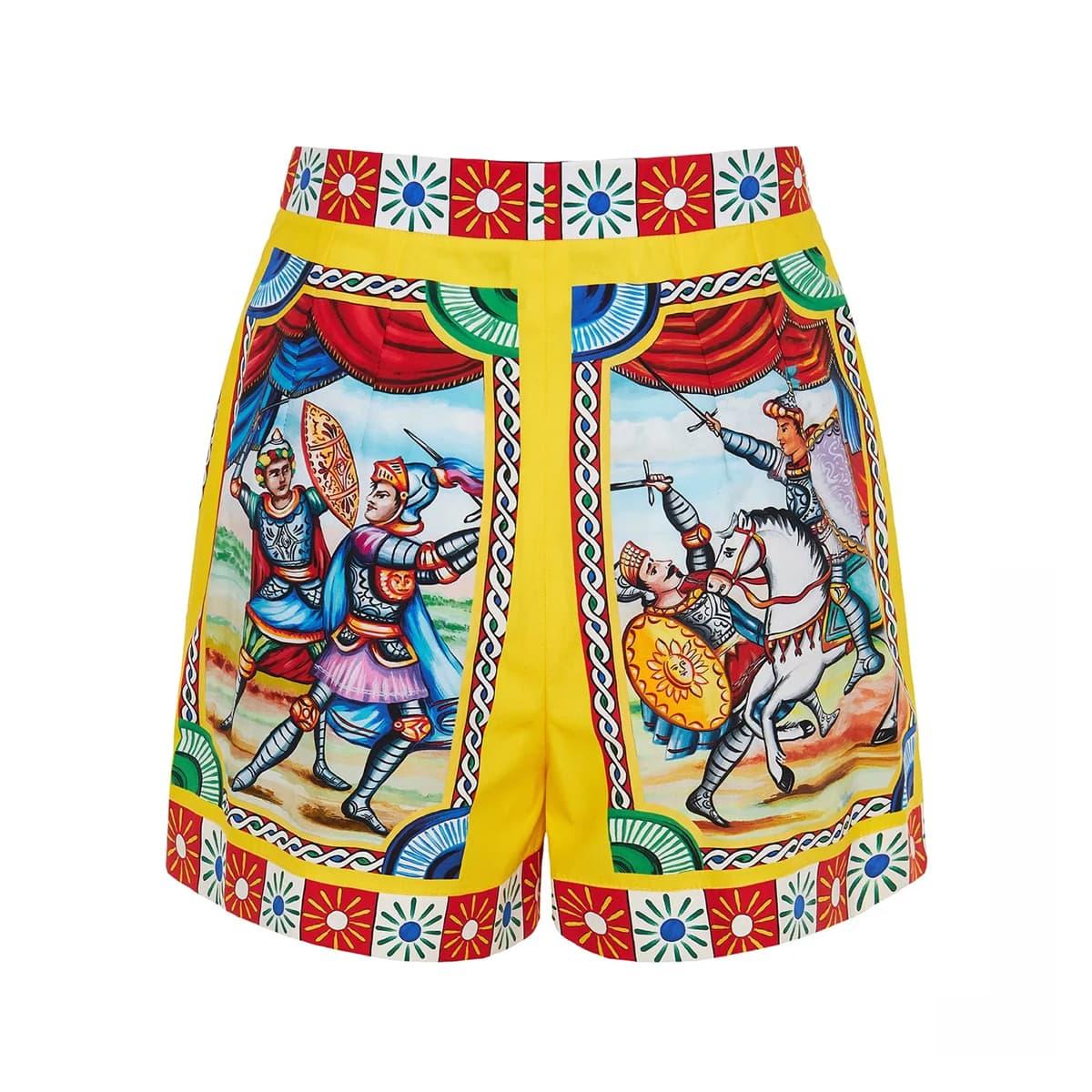Carretto-print poplin mini shorts