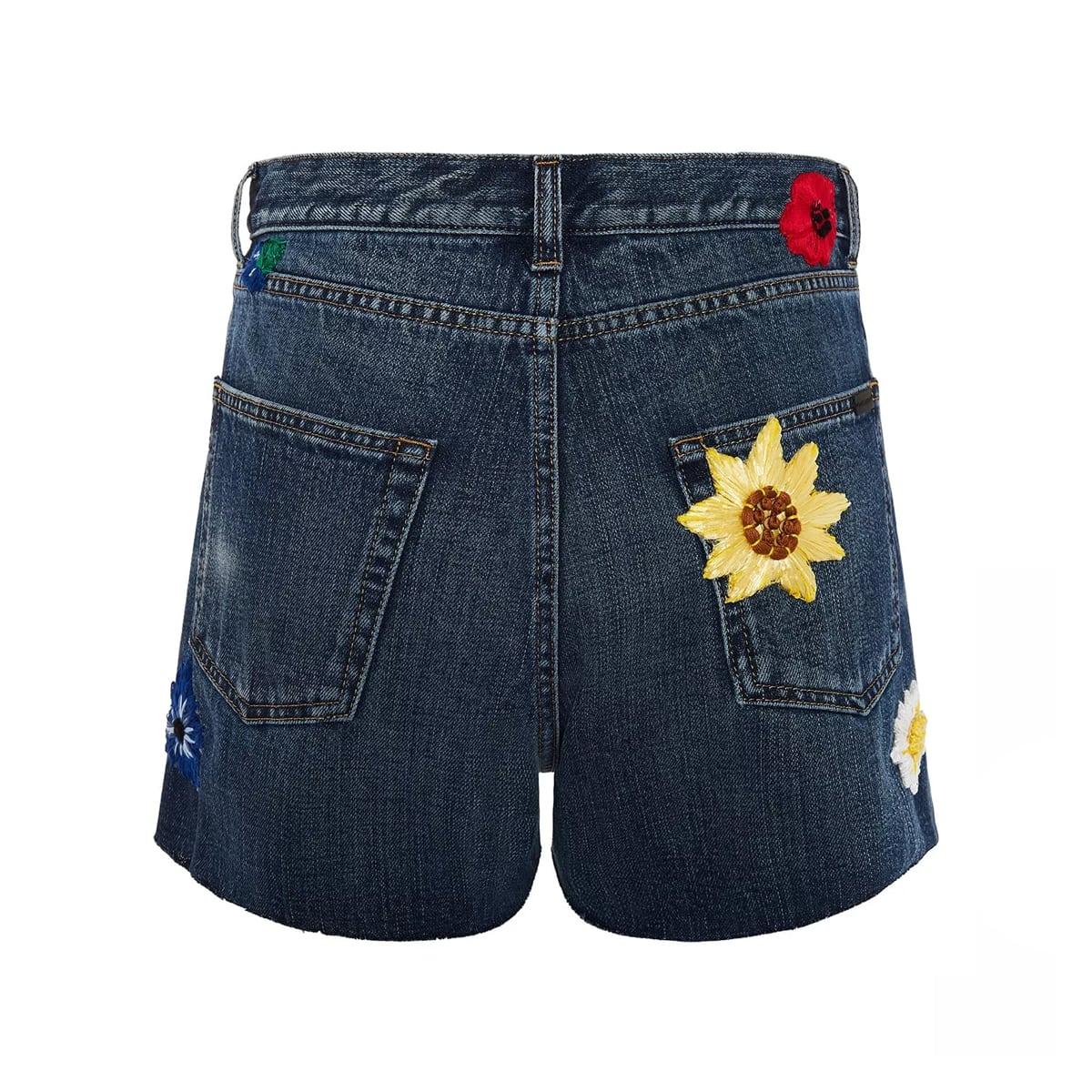 Flower embroidered denim shorts