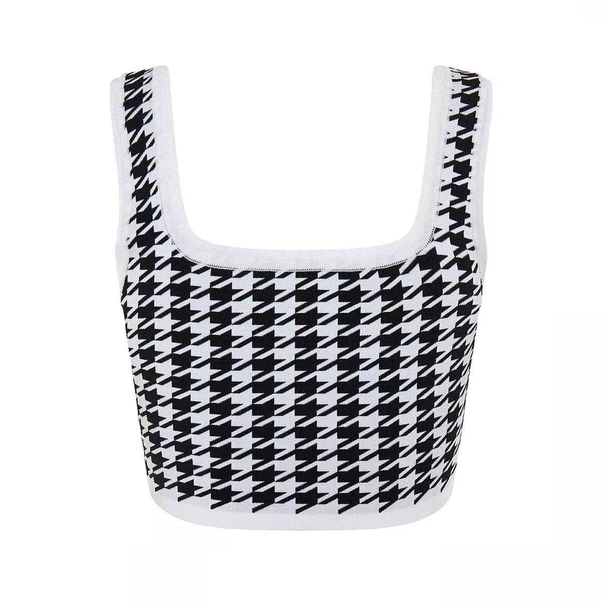 Houndstooth knit cropped top