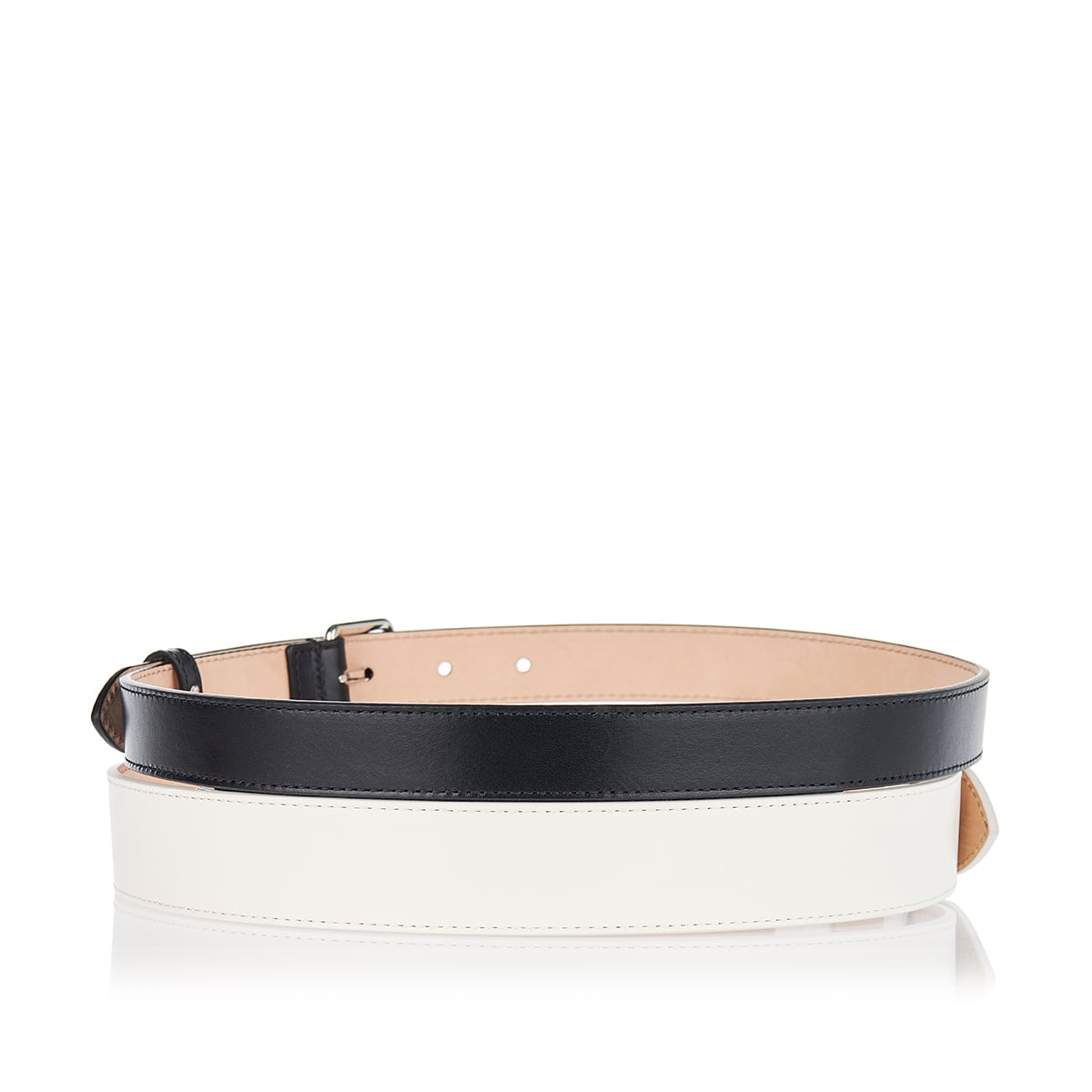 Two-tone leather double belt