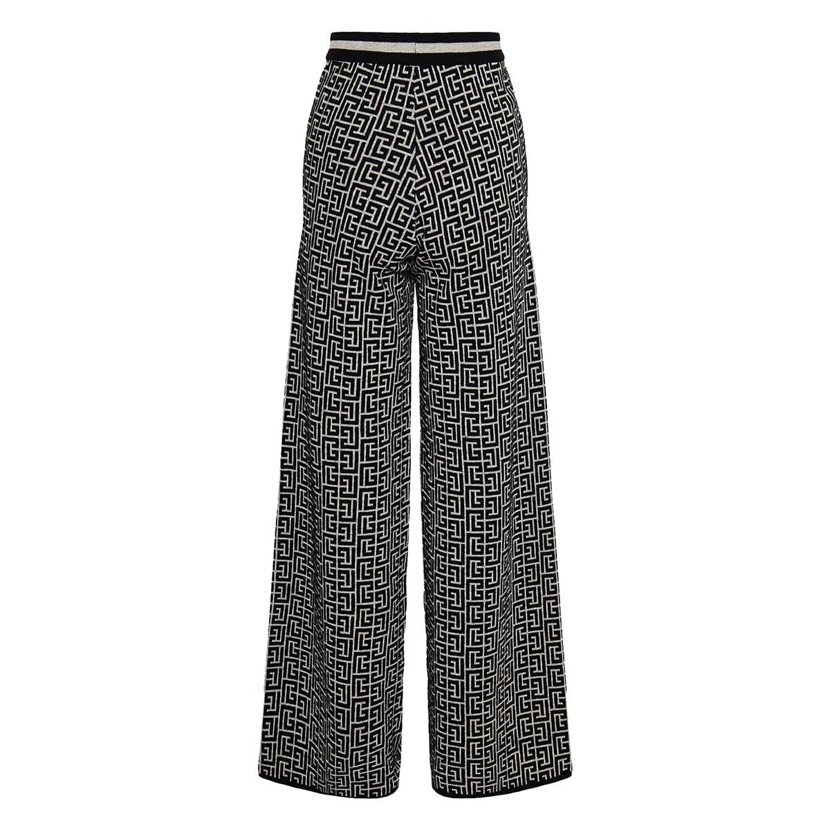 Monogram jacquard knit trousers