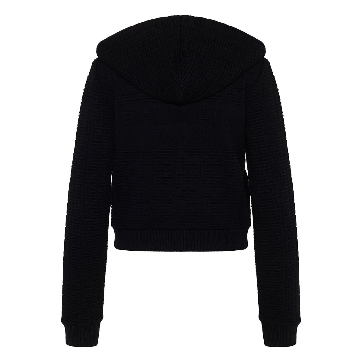 Monogram embossed zipper hoodie
