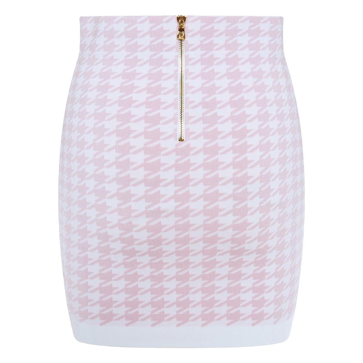 Houndstooth knitted mini skirt