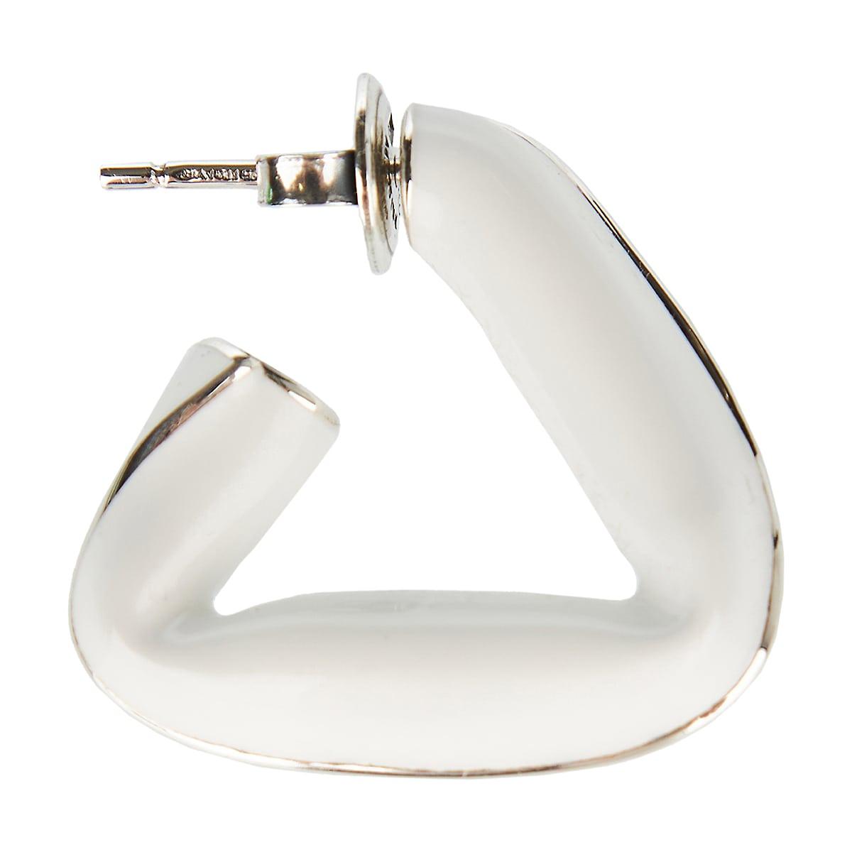 Fold silver and enamel triangle earrings