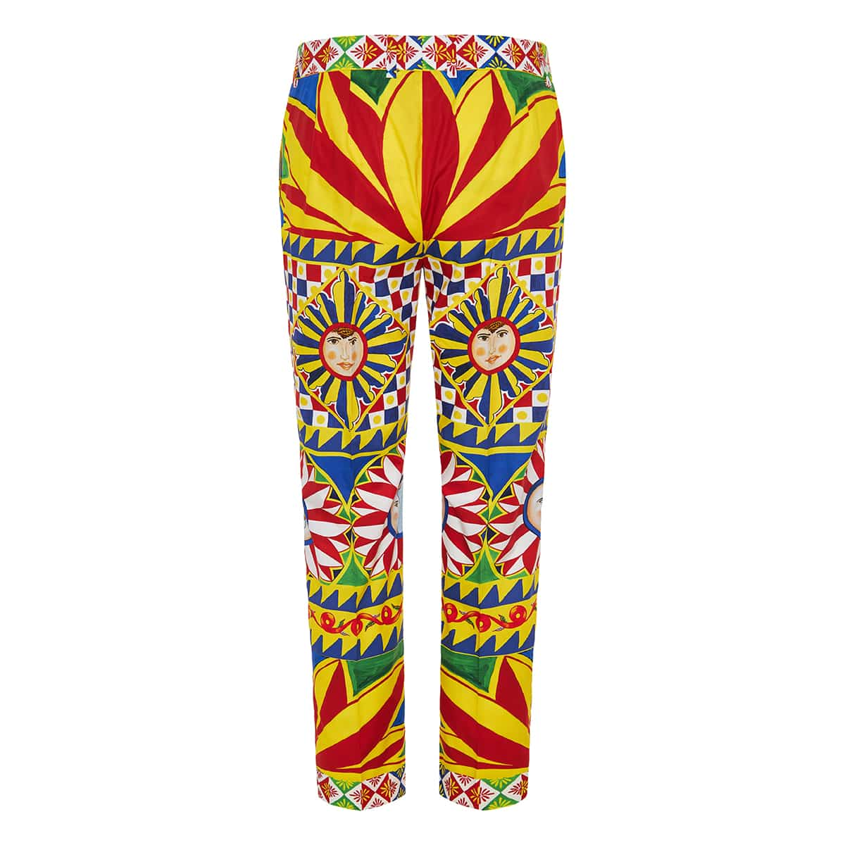 Carretto-print cropped cotton trousers