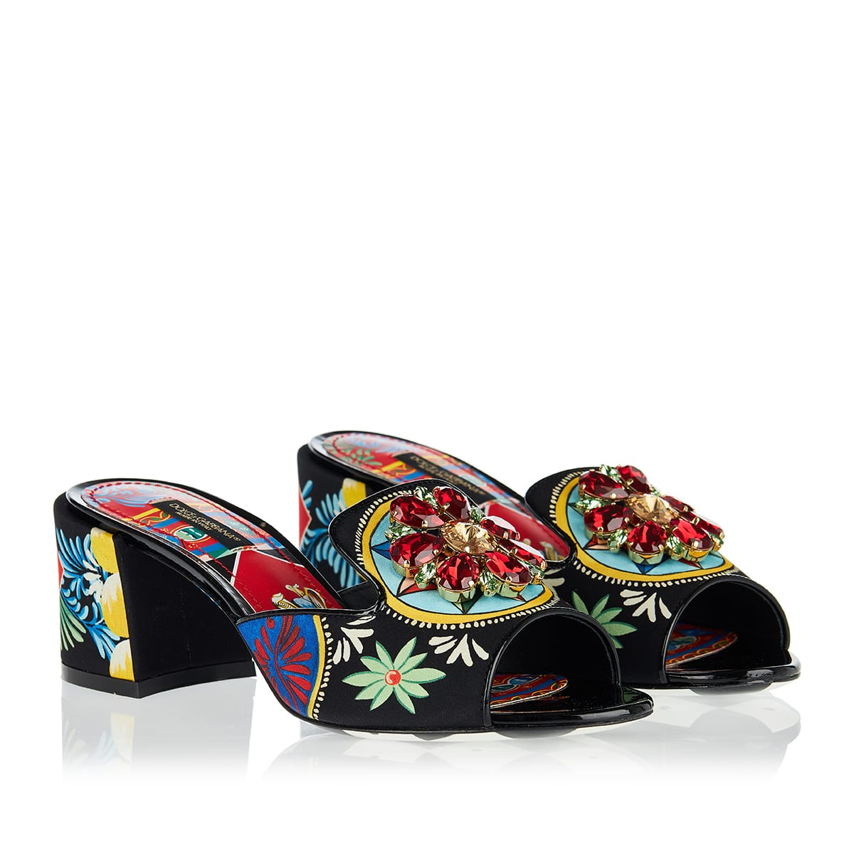 Carretto-print embellished mules