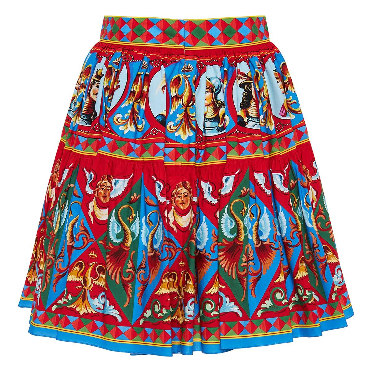 Carretto-print flared mini skirt