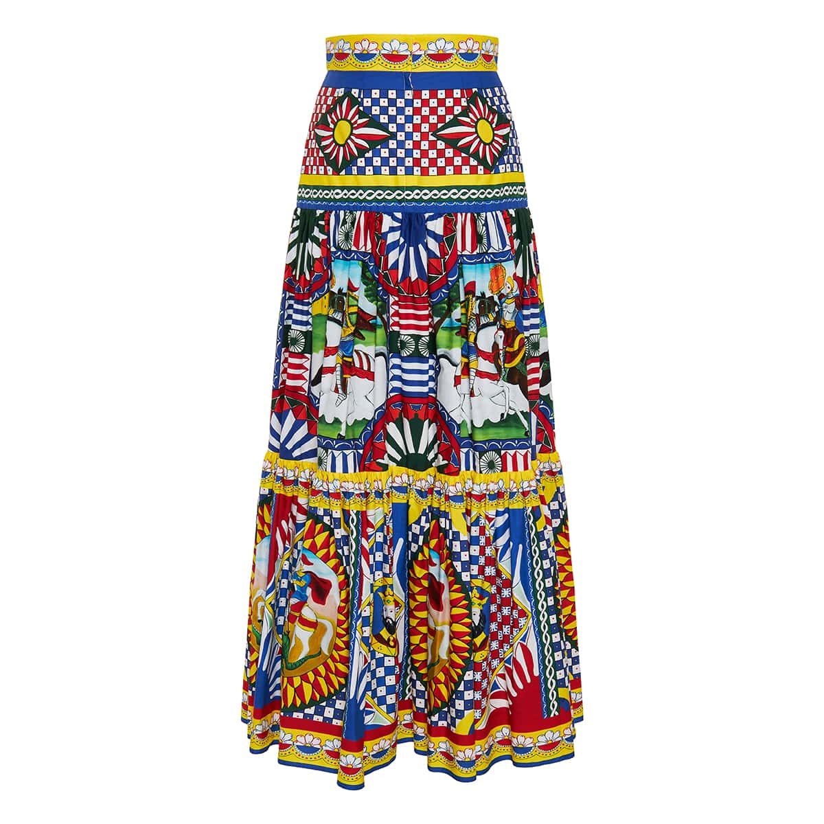 Carretto-print flared long tiered skirt