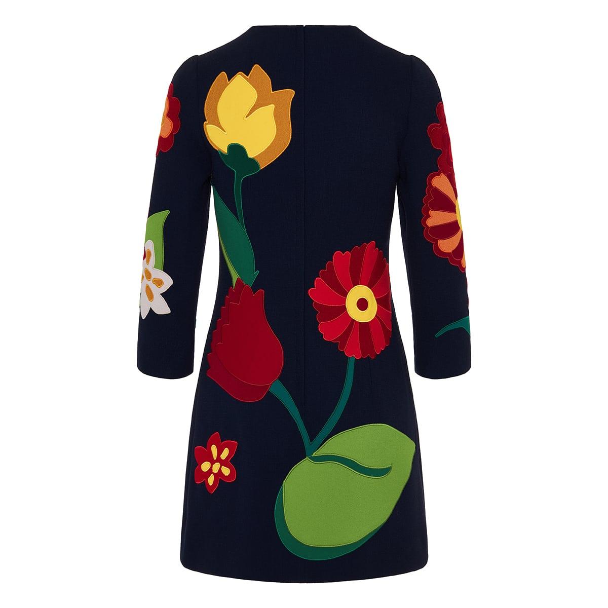 Flower applique crepe mini dress