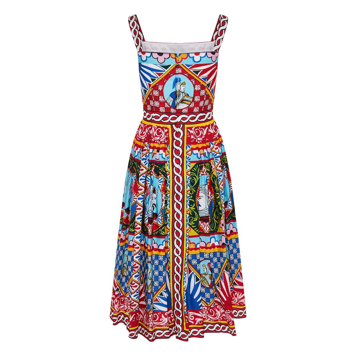 Carretto-print flared midi dress