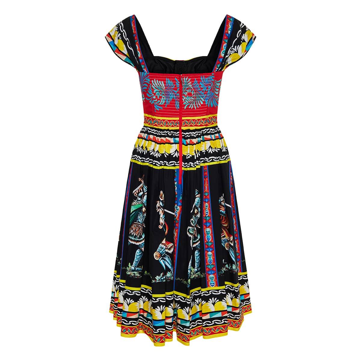 Carretto-print bustier flared midi dress