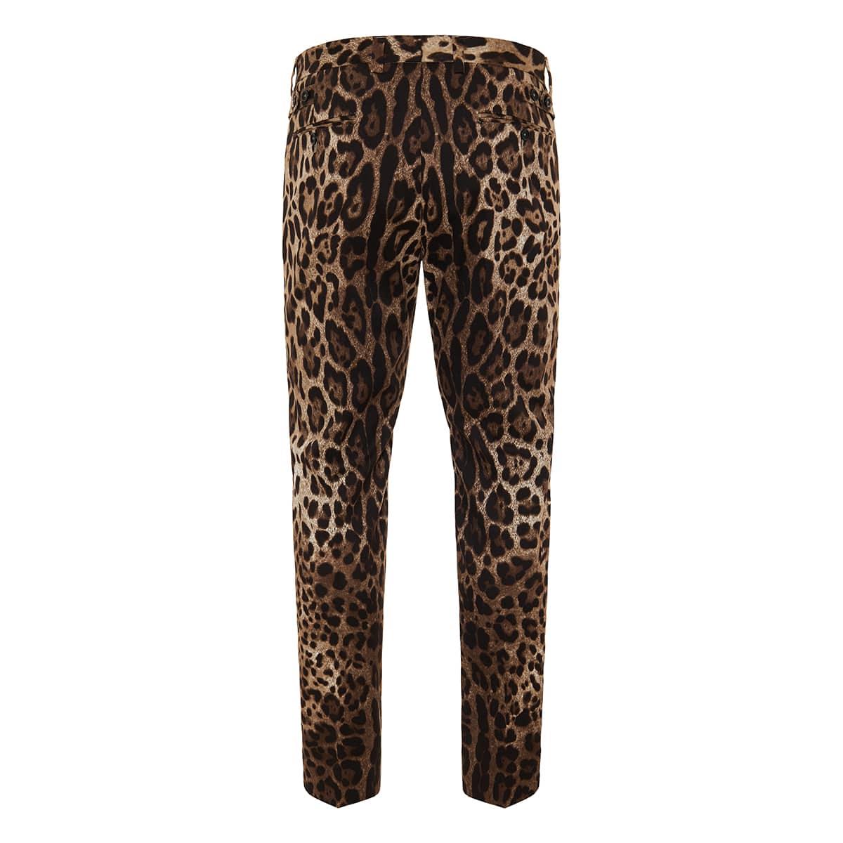 Leopard print cotton trousers