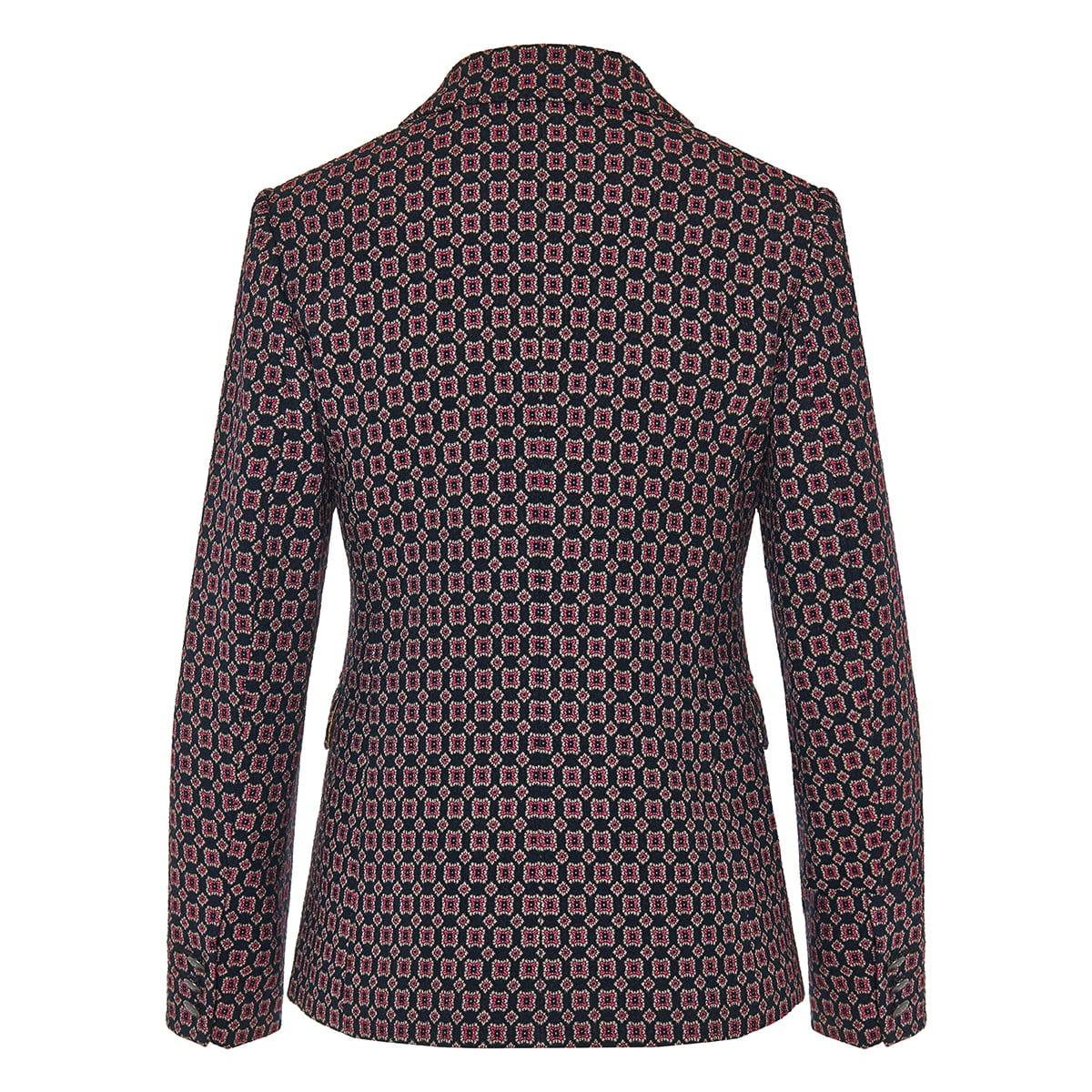 Geometric print jacquard blazer