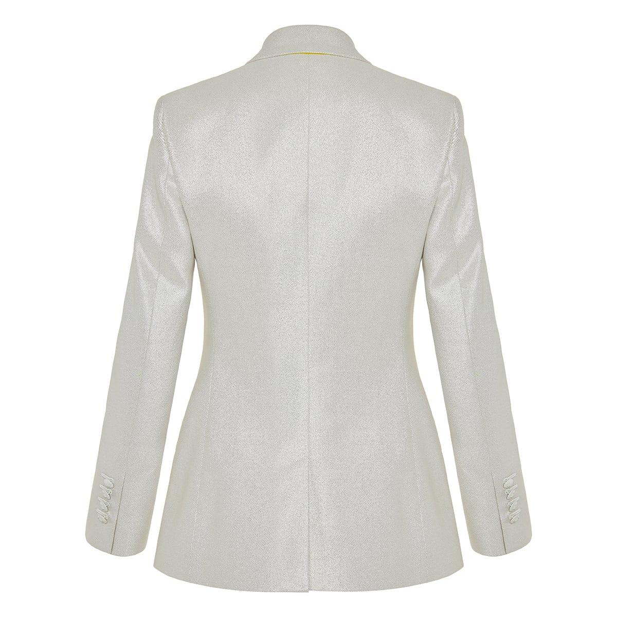 Single-breasted metallic blazer