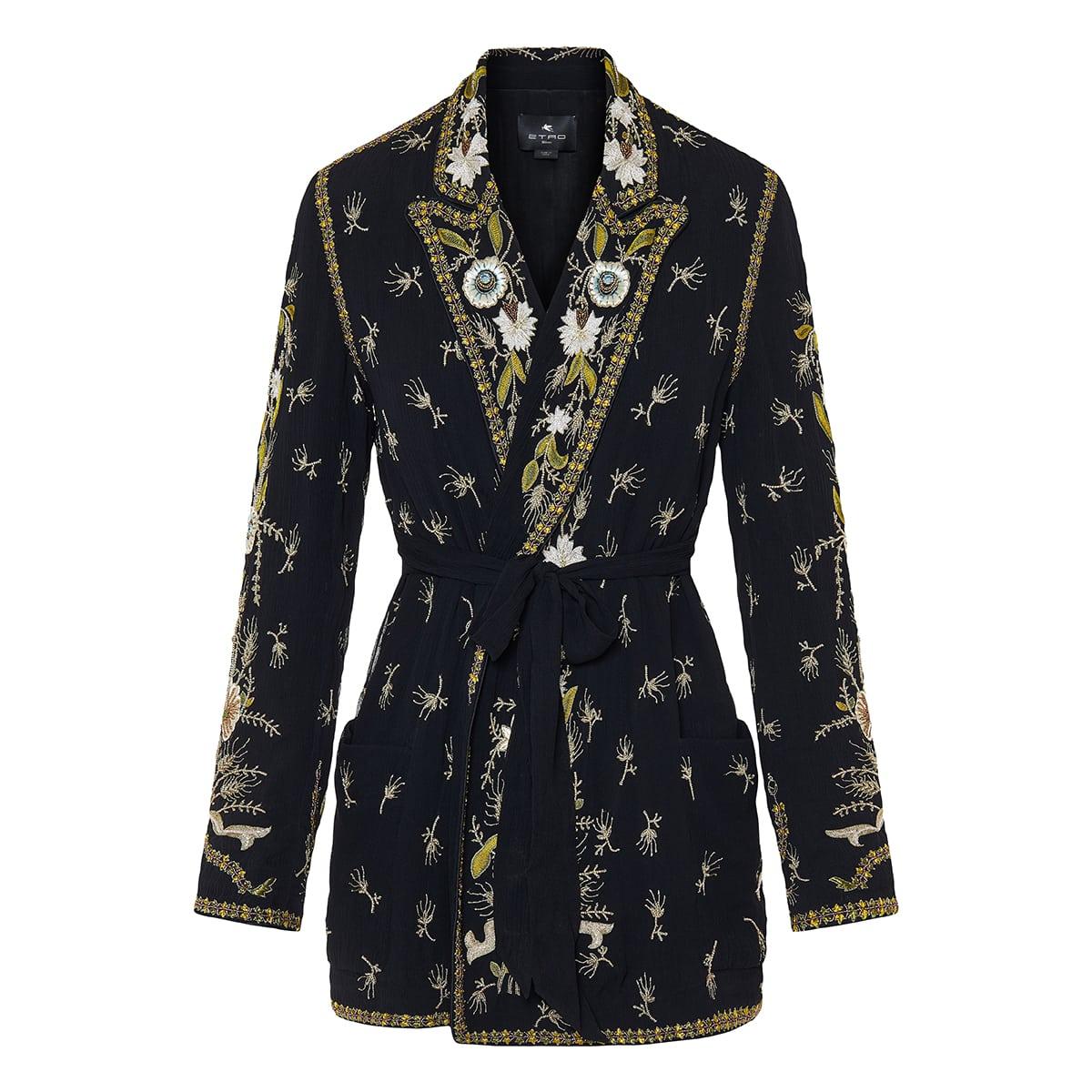 Embellished silk kimono jacket