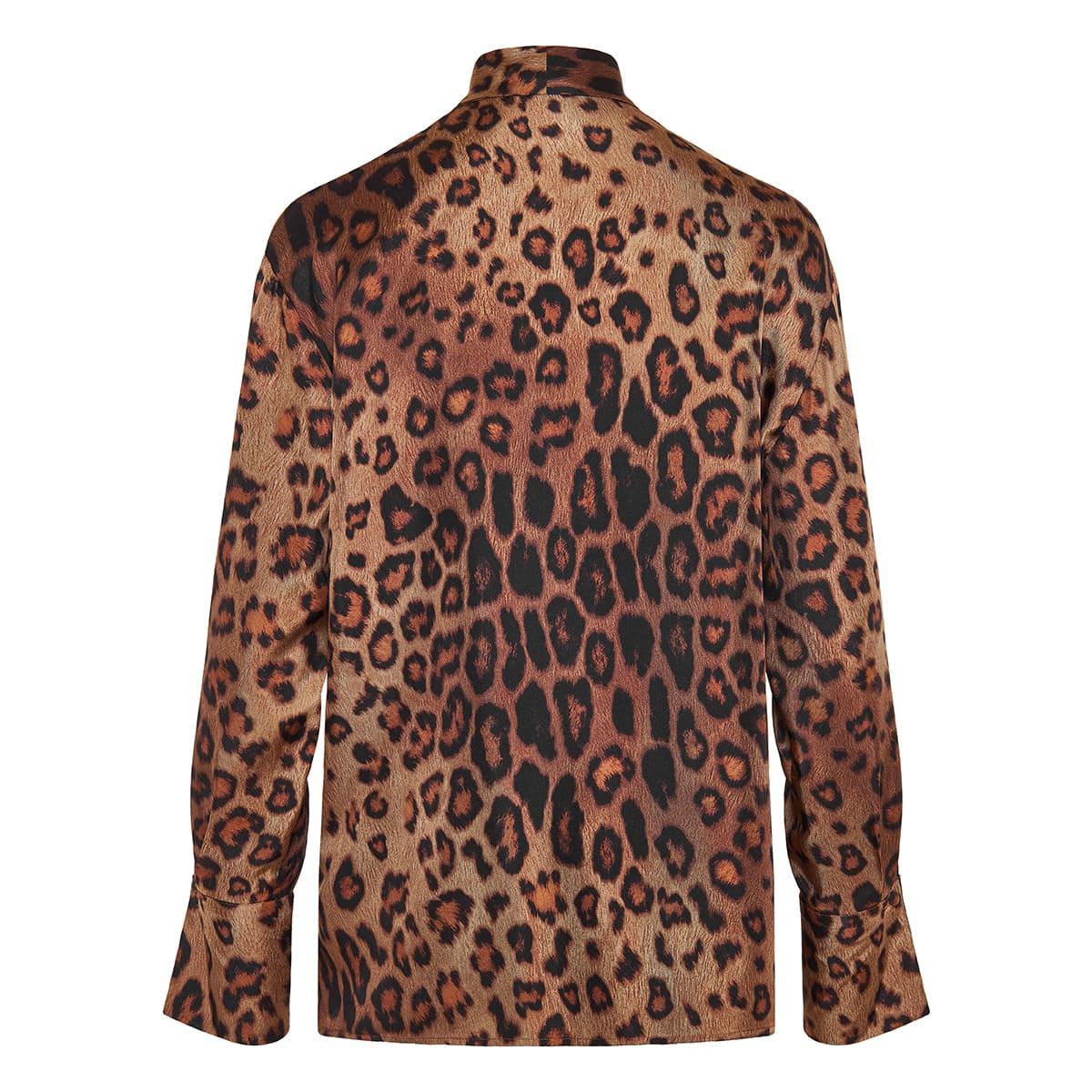 Bow-tie leopard silk shirt