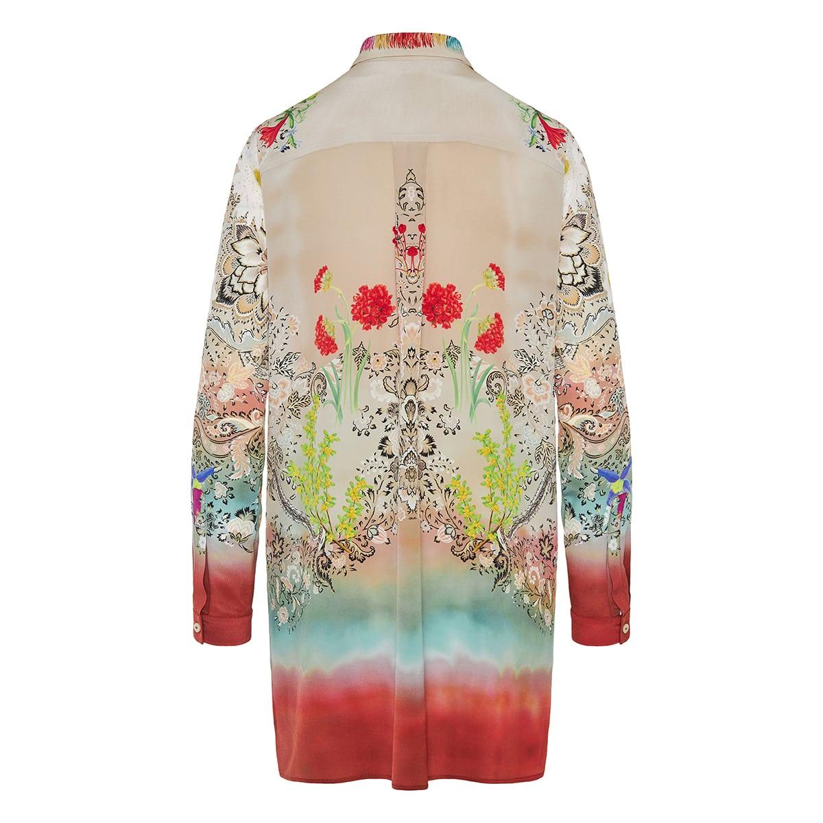 Printed long silk shirt