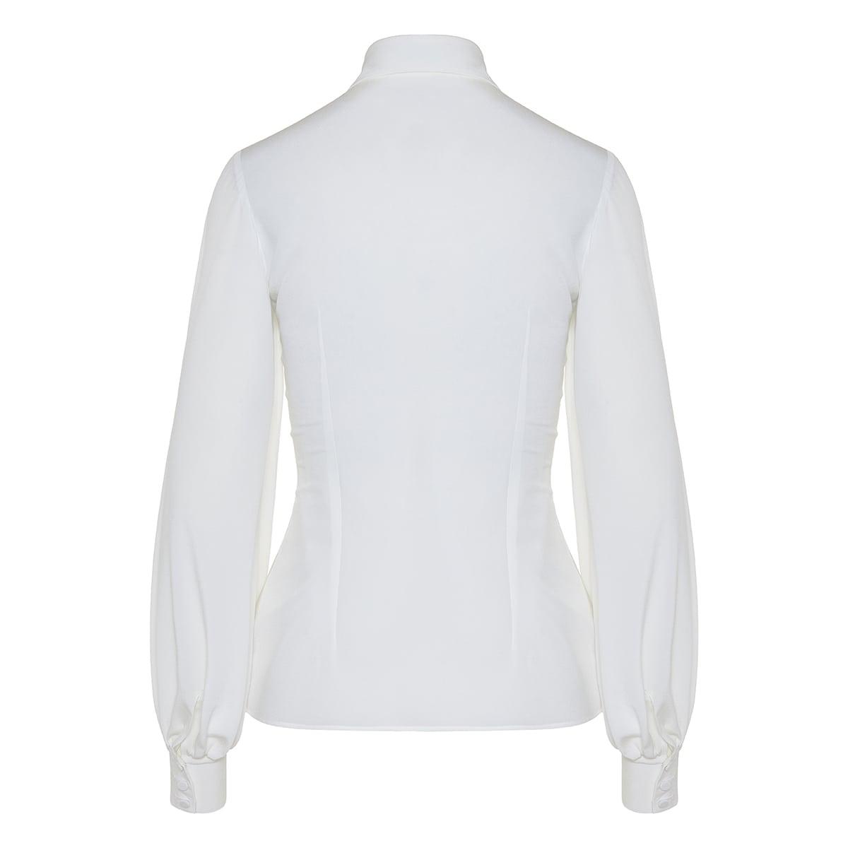 Balloon-sleeved silk shirt