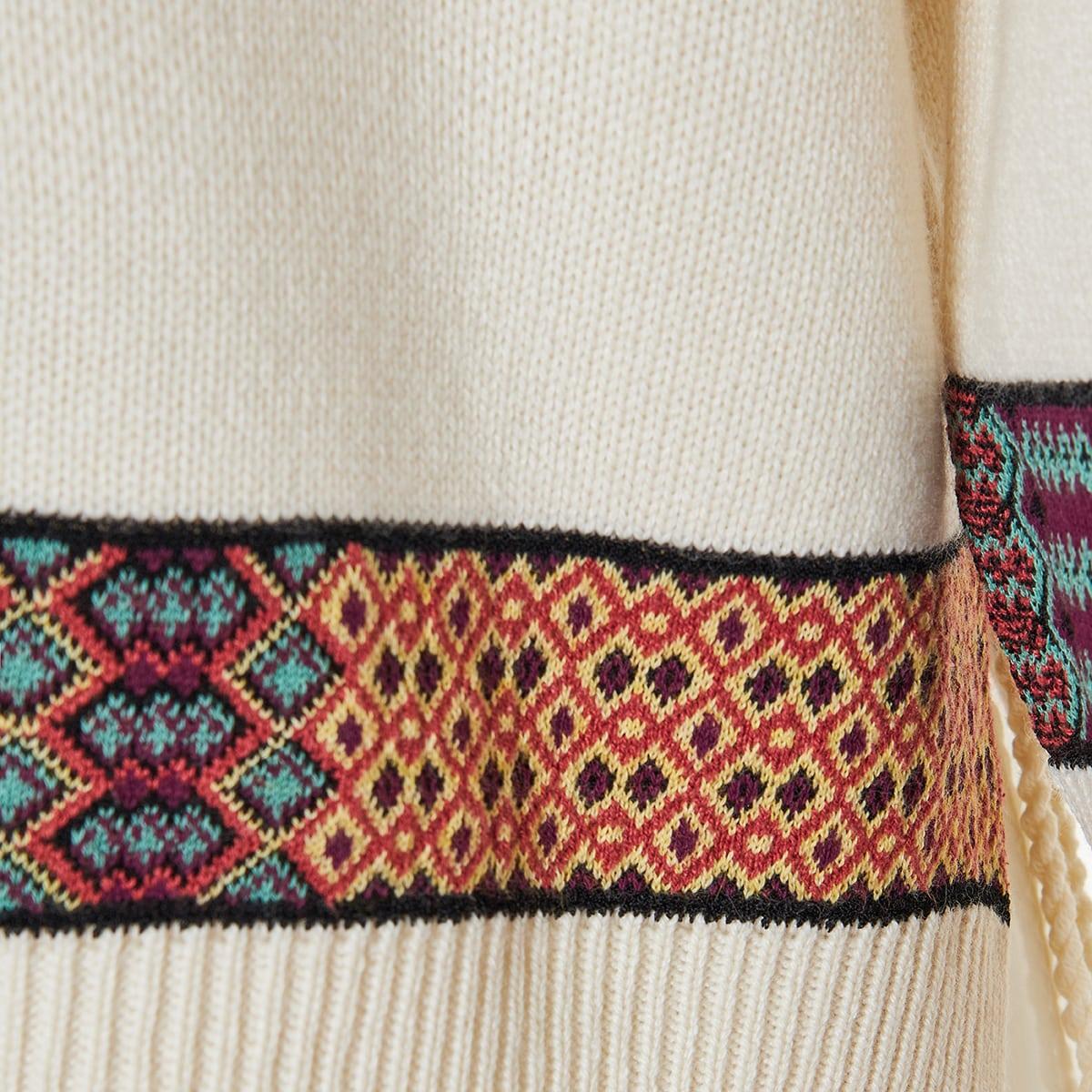 Jacquard-bands wool sweater