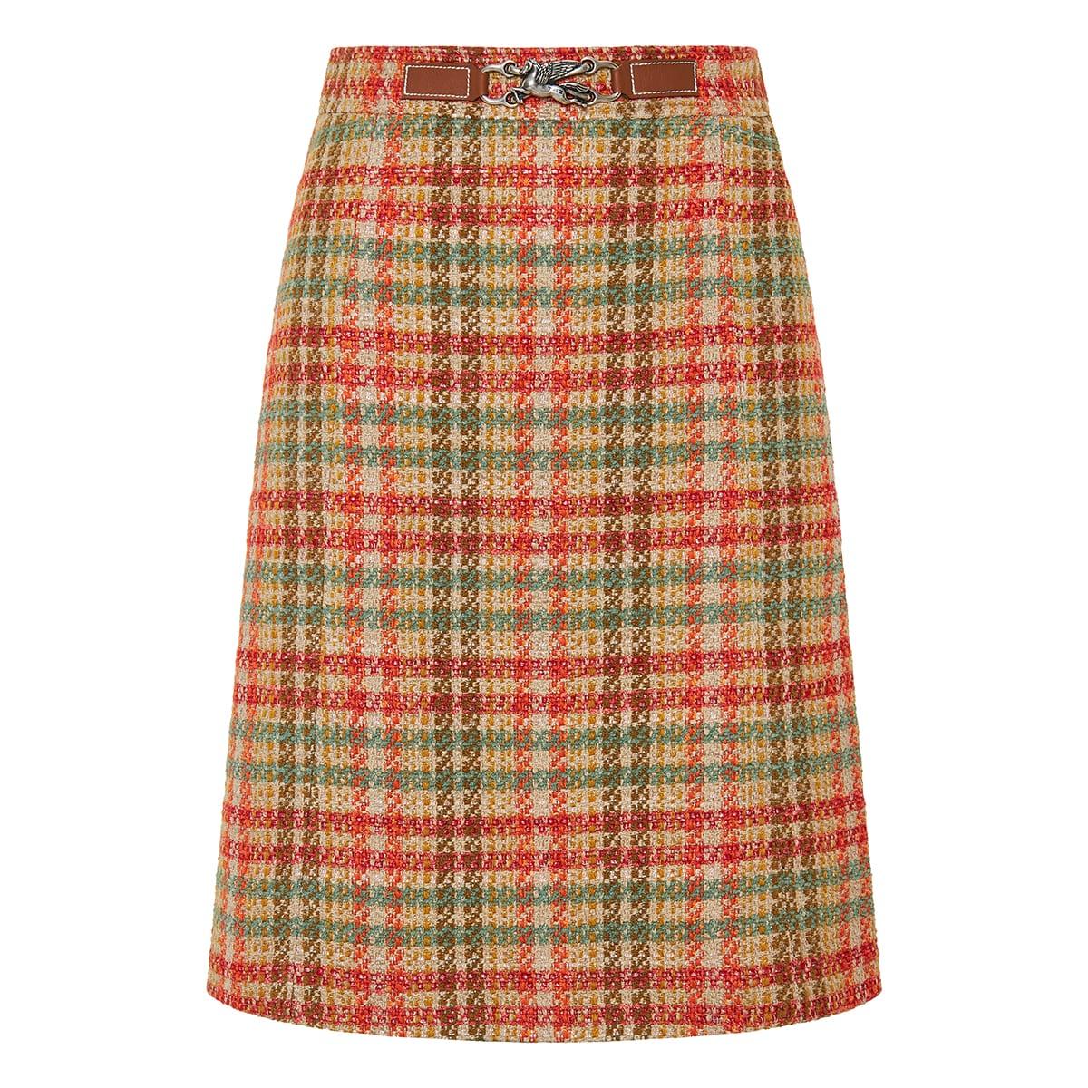 Pegaso tweed checked skirt