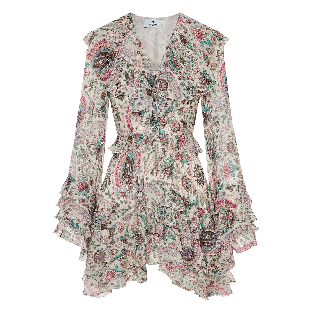Paisley print ruffled mini dress
