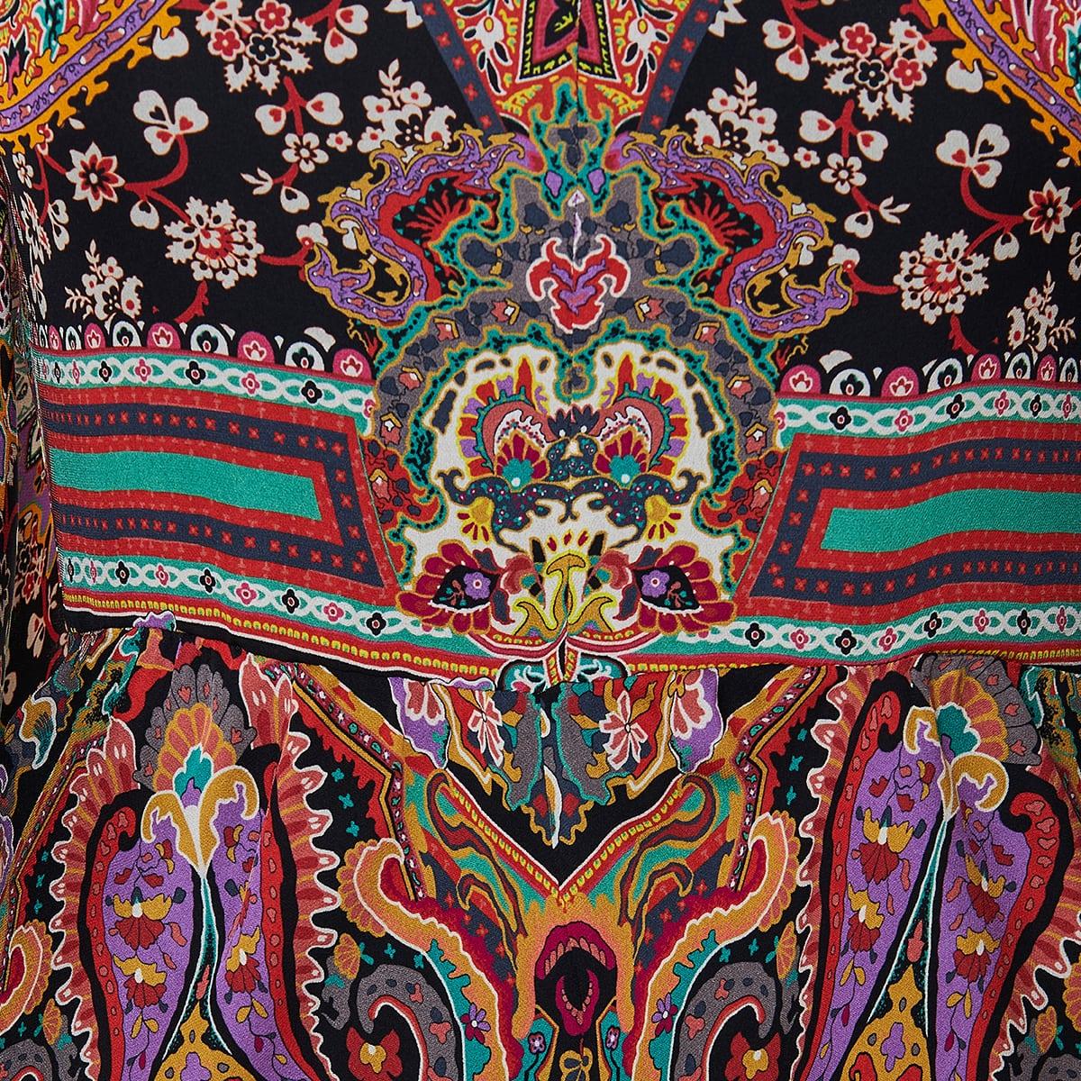 Paisley print ruffled long dress