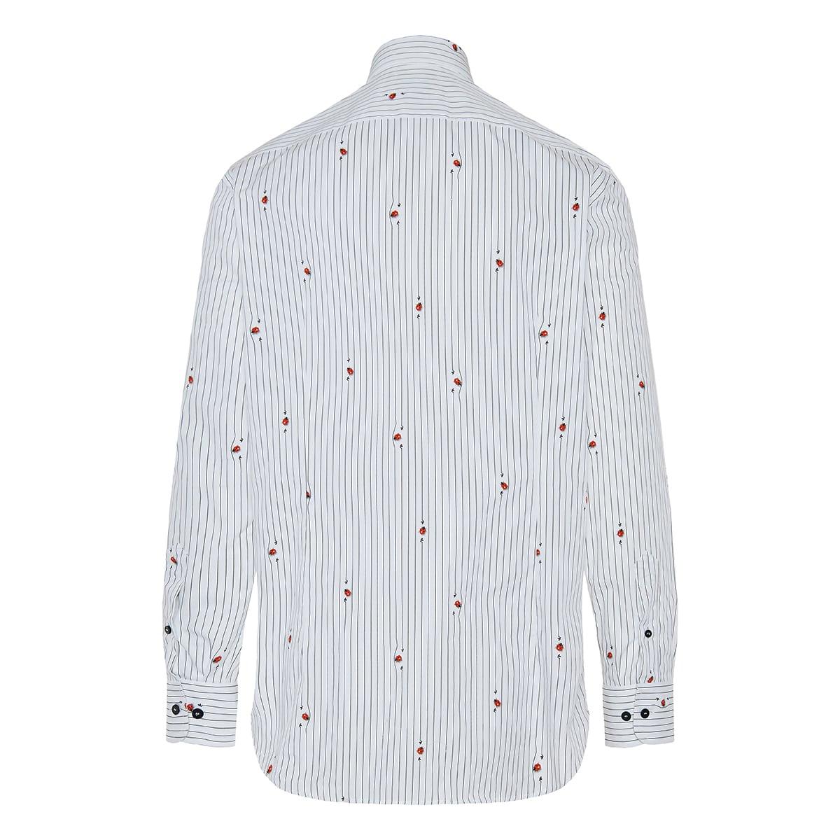 Ladybug-print striped cotton shirt