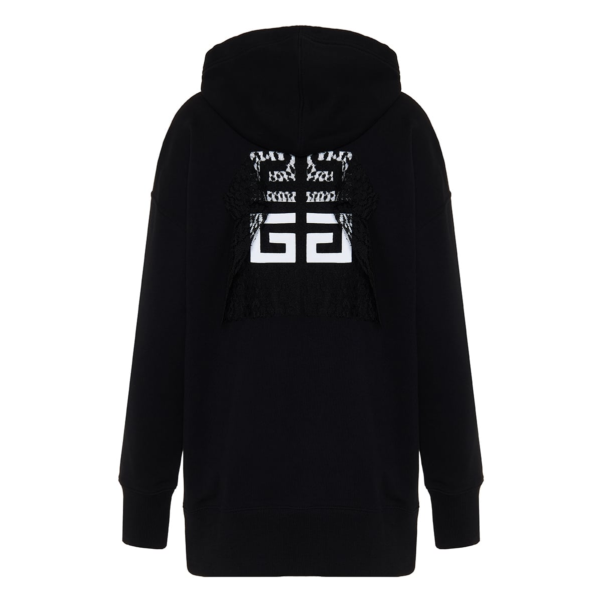 Lace-paneled oversized logo hoodie