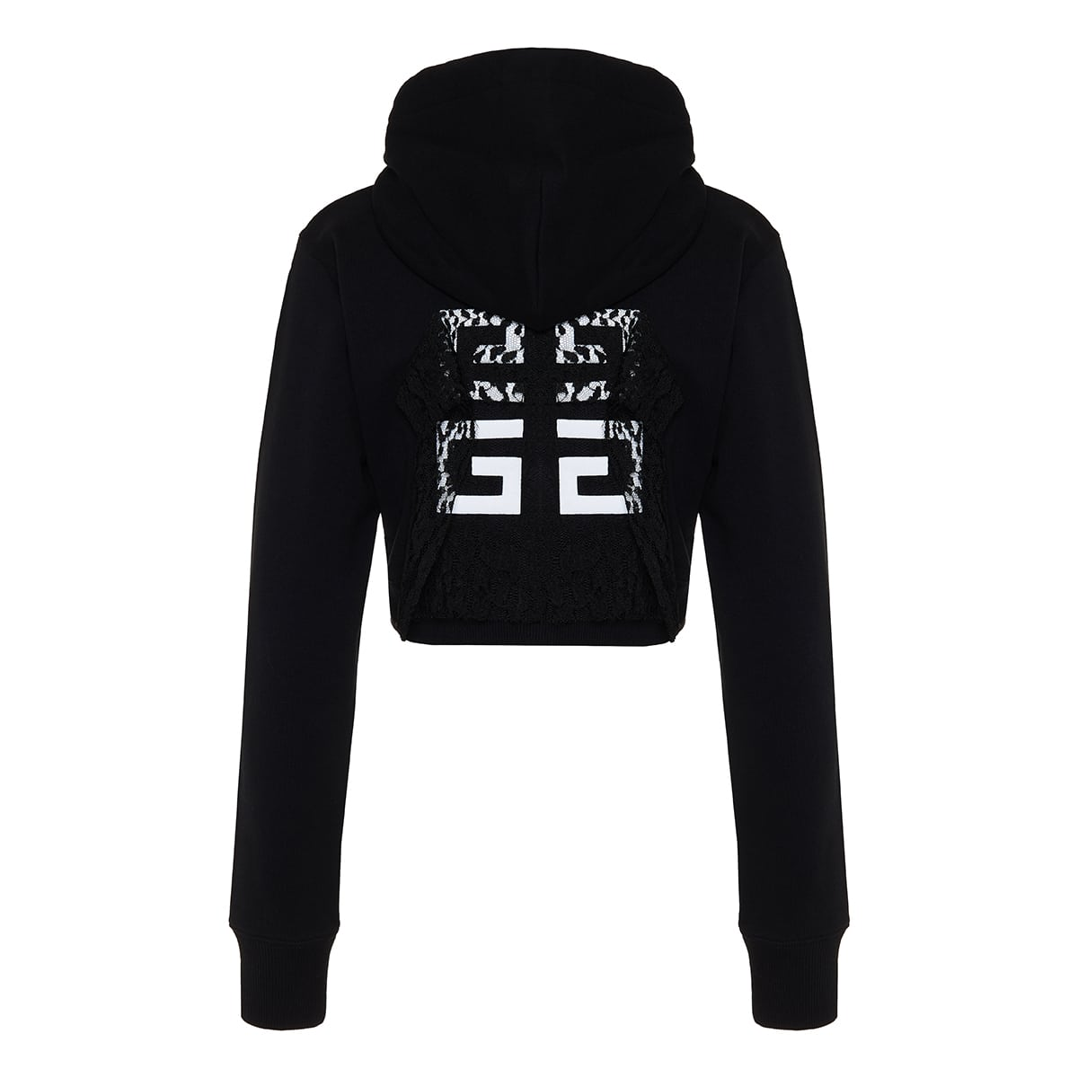 Lace-paneled logo cropped hoodie