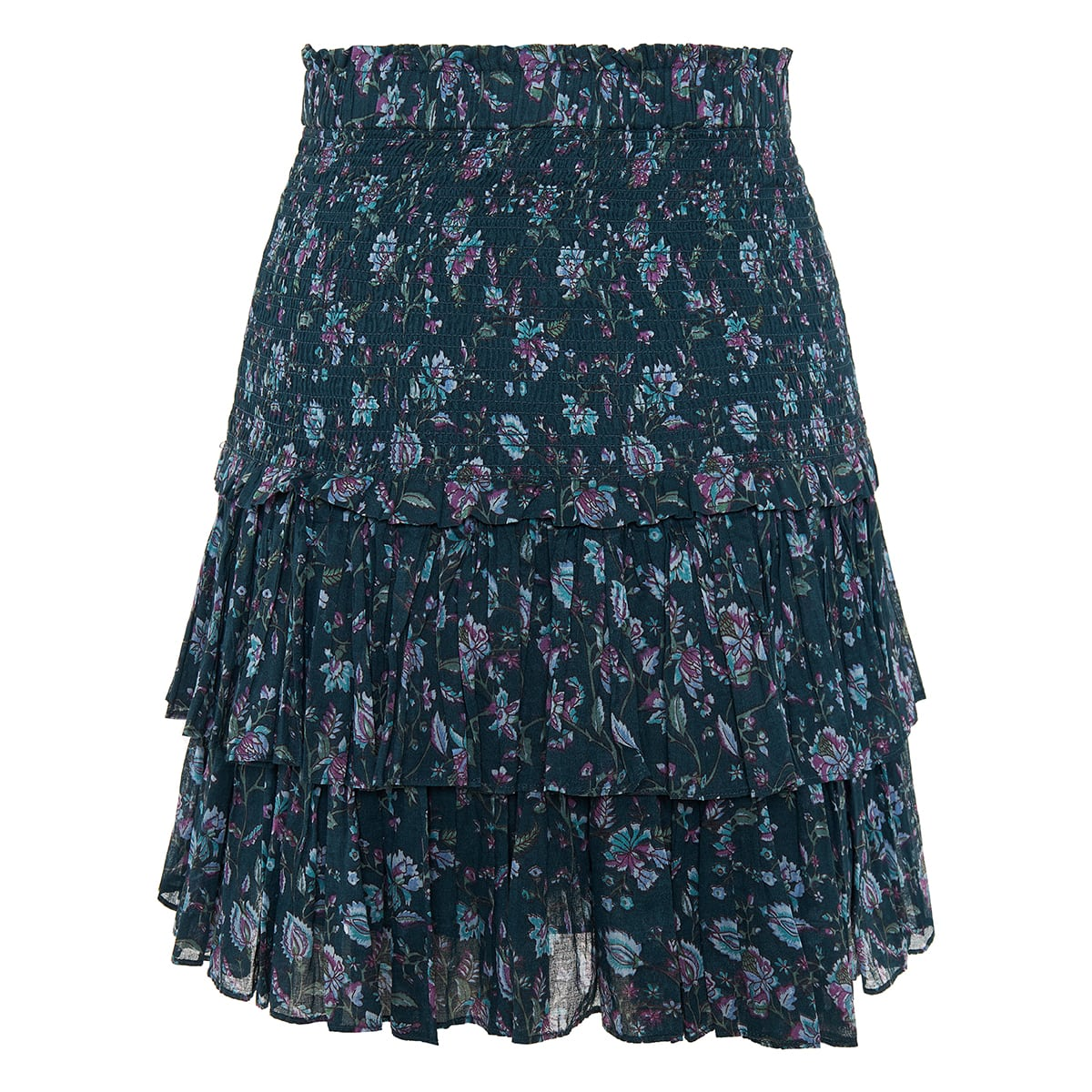 Naomi printed tiered mini skirt