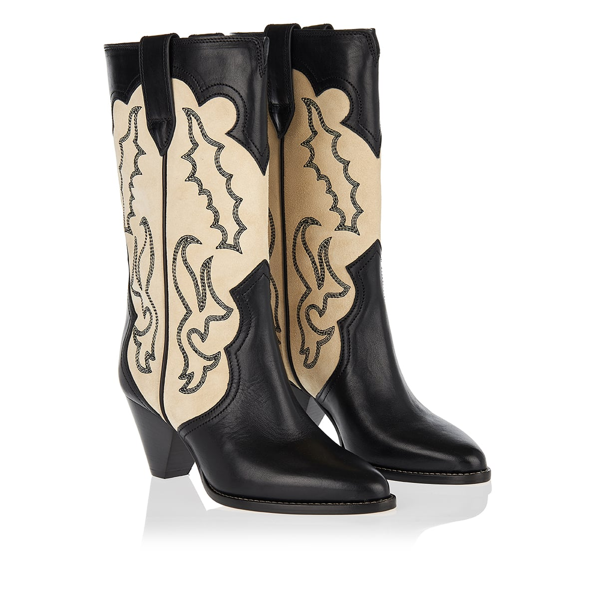 Suede and leather Western boots