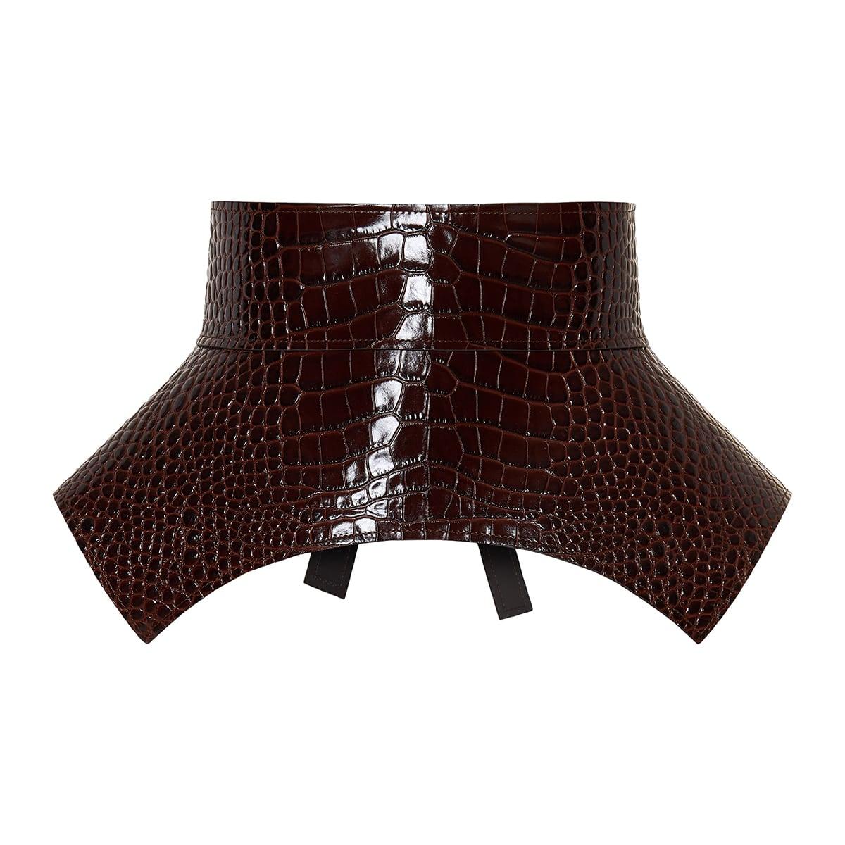Obi croc-effect leather corset belt