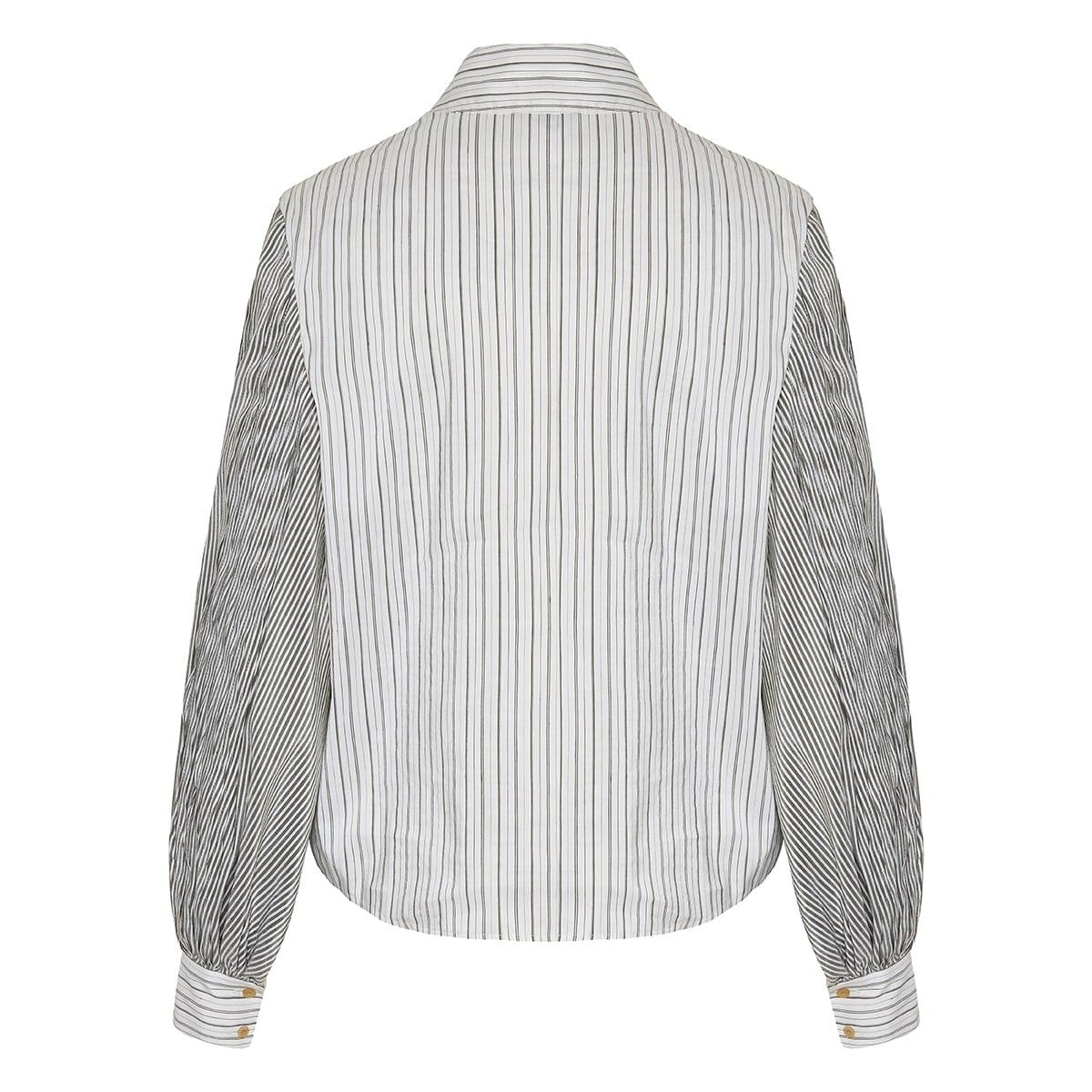 Balloon-sleeved striped shirt