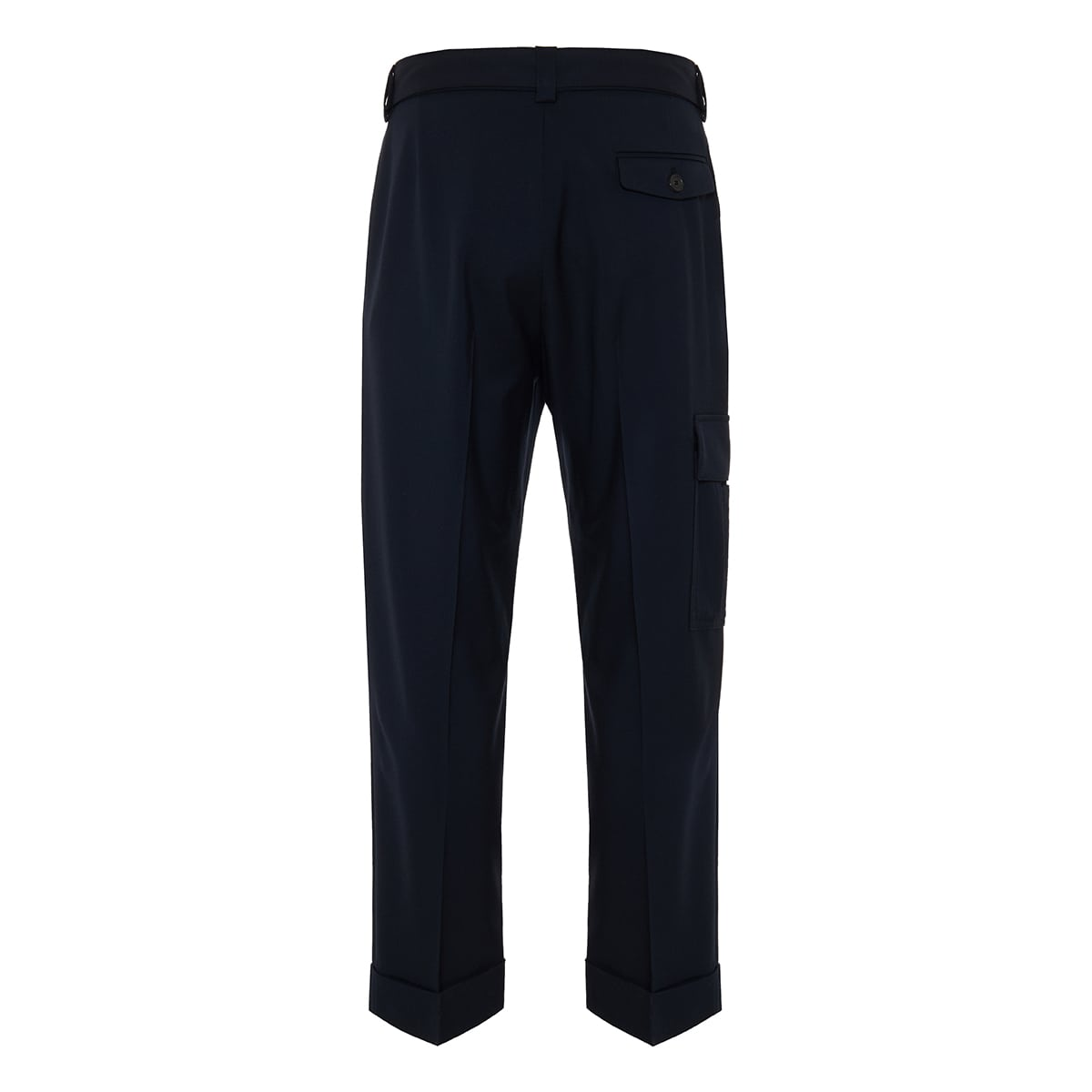 Cropped wool cargo trousers