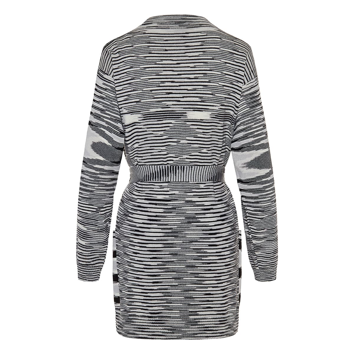 Graphic belted cashmere cardigan