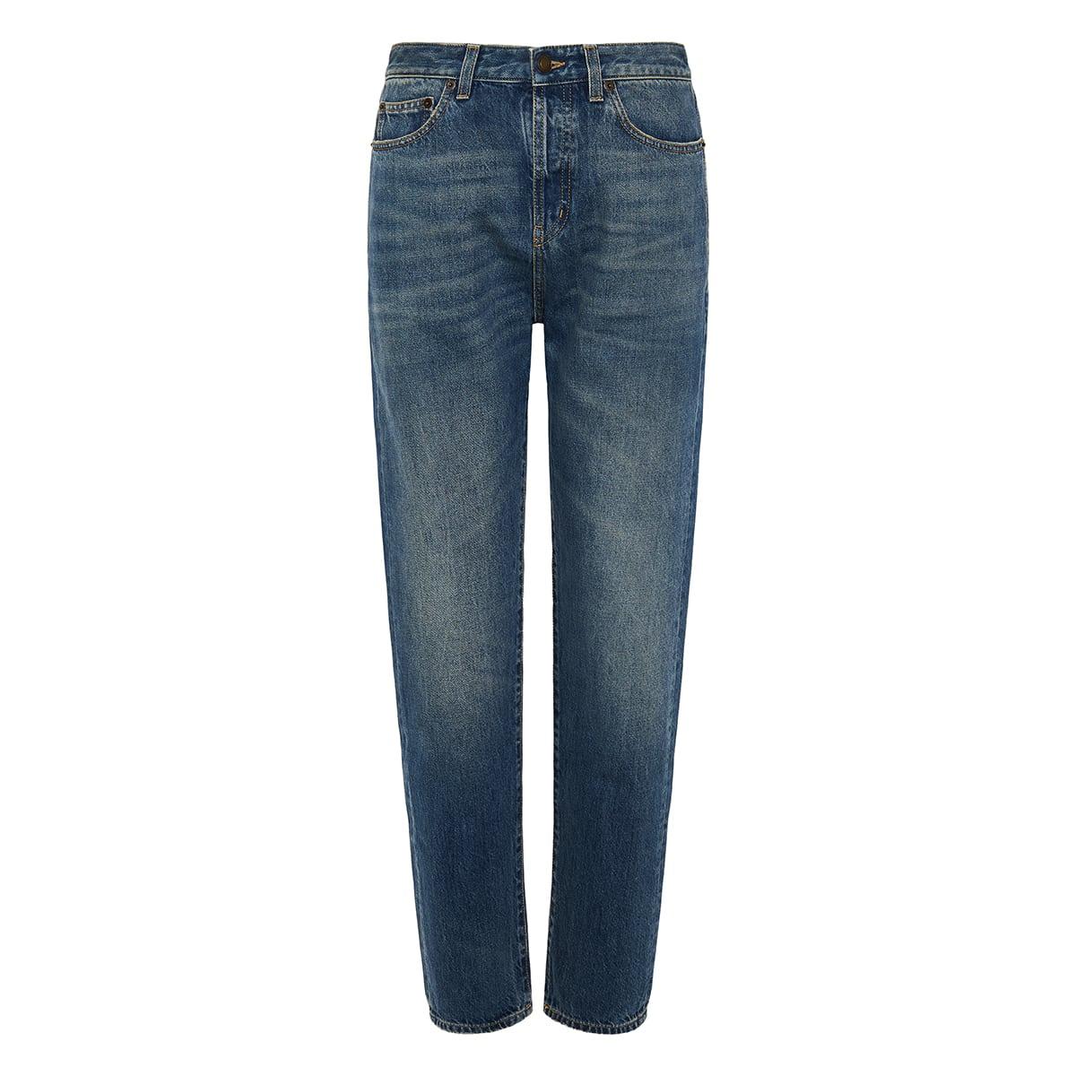 High-waist distressed jeans