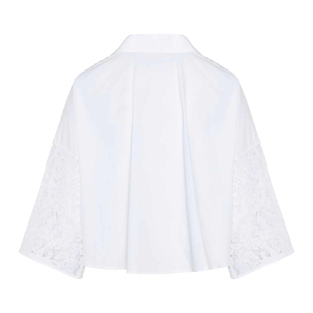 Lace and poplin cropped top