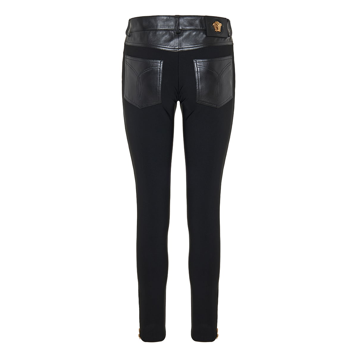 Medusa leather and jersey trousers