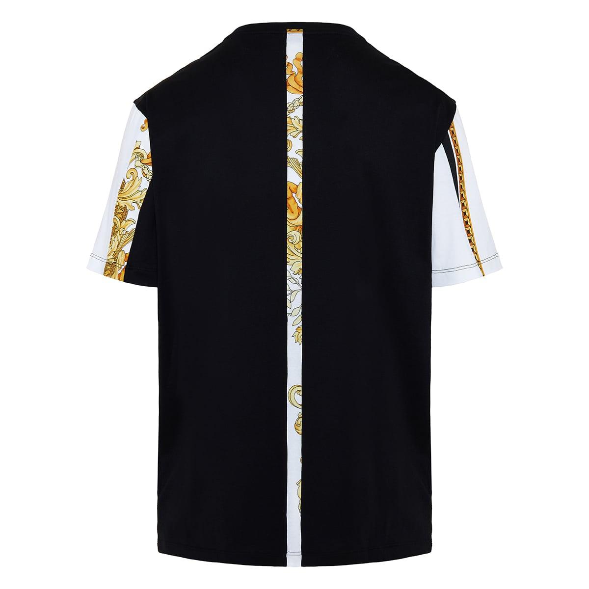 Baroque print striped t-shirt