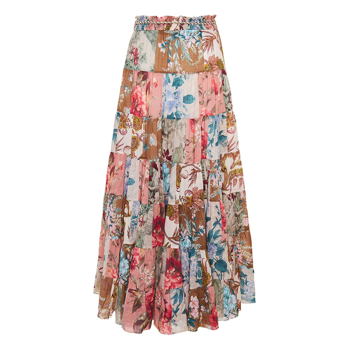 Cassia patchwork tiered midi skirt