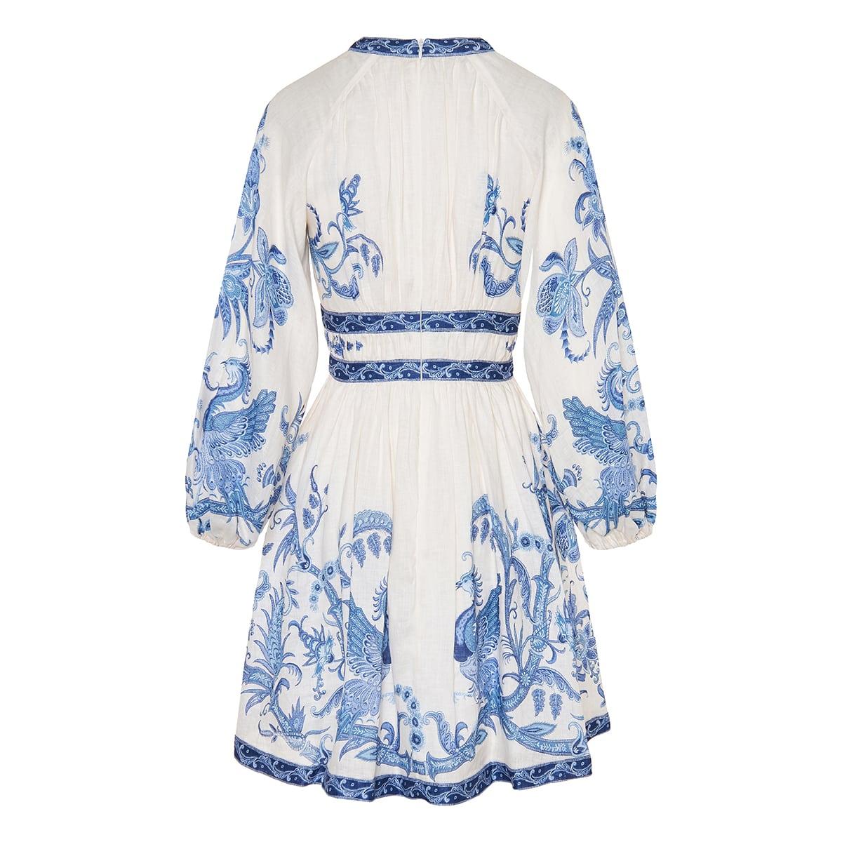 Aliane printed linen mini dress