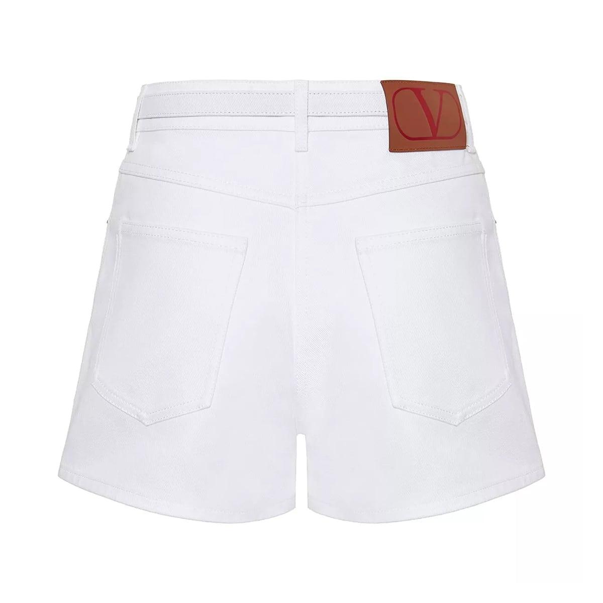 Belted denim shorts